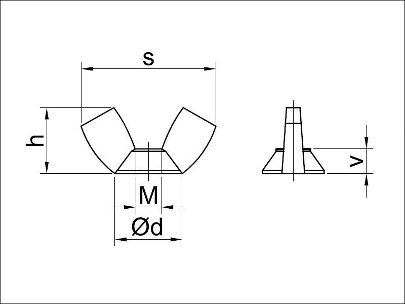 5X M10 Flügelmuttern ähnlich DIN 315 AM Form galvanisch verzinkt Muttern